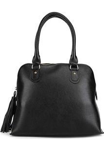 Bolsa Couro Shoestock Média Handbag Feminina - Feminino-Preto