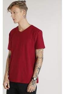 Camiseta Masculina Básica Flamê Manga Curta Gola V Vinho