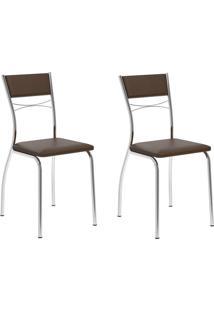 Kit 2 Cadeiras 1701 Cacau/Cromado - Carraro Móveis