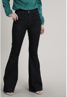 Calça Jeans Feminina Flare Com Recorte Azul Escuro