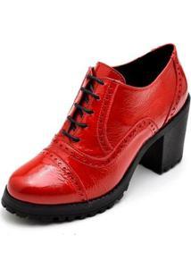 Ankle Boot Verniz Q&A Feminino - Feminino-Vermelho
