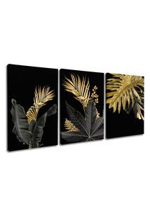 Quadro 60X120Cm Folhas Douradas Hostoa Canvas Decorativo Interiores