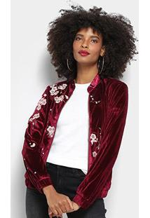 Jaqueta Bomber Lily Fashion Veludo Bordada Feminina - Feminino-Vinho