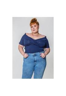 Kaue Plus Size Blusa Ombro A Ombro Plus Size Azul Marinho Blusa Ombro A Ombro Plus Size Azul Marinho Ex