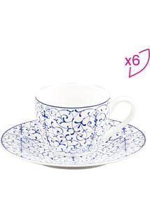 Jogo De Xícaras Para Café Abstract- Branco & Azul- 6Rojemac