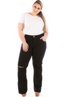 Calça Jeans Flare Com Abertura No Joelho Plus Size