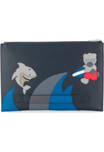 Furla Bolsa Clutch Com Contraste - Azul