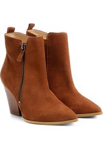 Bota Couro Cano Curto Shoestock Zíper Feminina - Feminino-Caramelo