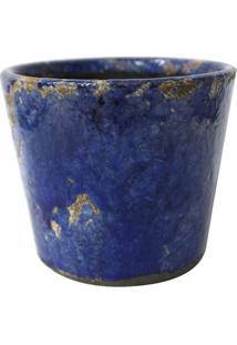 Cachepot Craquelado- Azul & Cinza- 14Xã˜12Cm- Btcbtc Decor