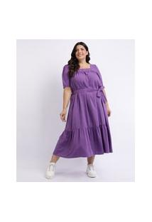 Vestido Feminino Mindset Plus Size Longo Com Recortes E Faixa Para Amarrar Manga Curta Decote Quadrado Roxo
