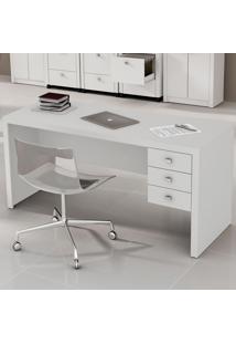 Mesa Para Escritório 3 Gavetas Me4113 Branco - Tecno Mobili