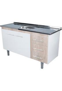 Gabinete De Cozinha Lyon 53X143,4Cm Branco E Madeirado Bonatto