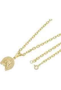 Pingente Cara De Cavalo Com Corrente Cartier Tudo Joias Folheado A Ouro 18K - Masculino-Dourado