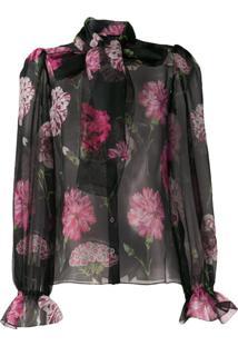 Dolce & Gabbana Blusa Com Estampa Floral - Preto