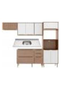 Cozinha Compacta Com Pia Inox 5 Peças Calábria Multimóveis Mp3204 Madeirado/Branco