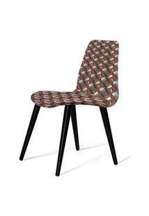 Cadeira Estofada Jacob Estampada Com Pes Palito Preto - 49533 Preto