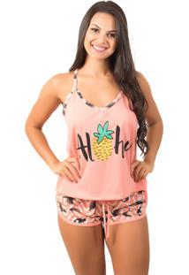 Pijama Bella Fiore Modas Short Doll Estampado Coral