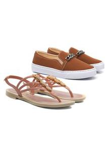 Kit Sandalia + Slip On Corrente Feminino Casual Caramelo