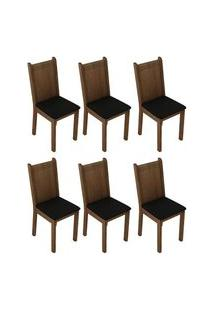 Kit 6 Cadeiras 4290 Madesa Rustic/Sintético Preto Cor:Rustic/Sintético Preto