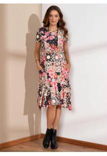 Vestido Midi Floral Arabesco Com Bolsos