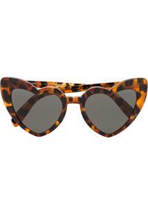 e88cc5a3dd4de ... Saint Laurent Eyewear Óculos De Sol De Coração - Marrom