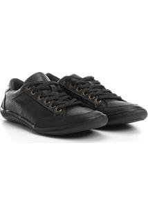 Sapatênis Shoestock Couro Perfuros - Masculino-Preto