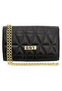 Bolsa Clutch Ravy Store Pequena Metalassê Preto