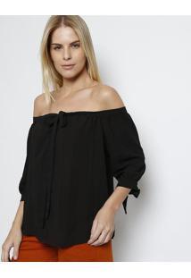 Blusa Ombro A Ombro Com Amarração - Pretapresidium