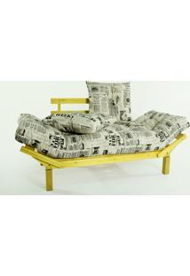 Sofá Cama Madeira Futon Country Comfort Acab. Stain Amarelo Com Almofada/Colchao Tecido T09 - 190X80X83 Cm