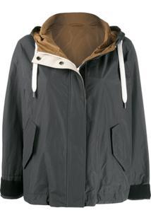 Brunello Cucinelli Contrast Hood Jacket - Cinza
