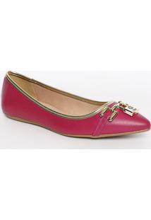Sapatilha Em Couro Com Cadeado- Rosa Escuro & Douradacarmen Steffens