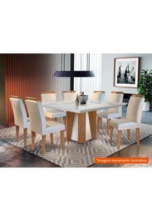 Conjunto De Mesa De Jantar Valença Com 8 Cadeiras Athenas Veludo Creme Com Imbuia E Off White