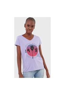 Camiseta Guess Palm Los Angeles Lilás
