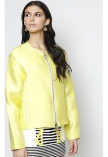 Jaqueta Com Seda & Bolsos - Verde Limãoversace