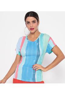 Blusa Listrada Com Amarração- Azul Claro & Rosê- Thithipton