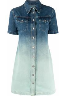 Off-White Vestido Jeans Com Efeito Manchado - Azul