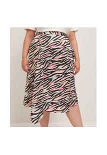 Saia Midi Em Crepe Animal Print Com Fenda Curve & Plus Size | Ashua Curve E Plus Size | Multicores | Gg