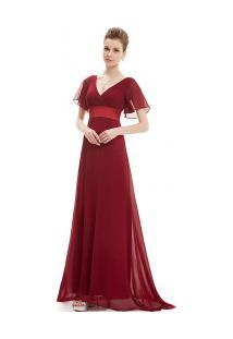 Vestido Longo Elegante Decote V Manga Curta - Vinho