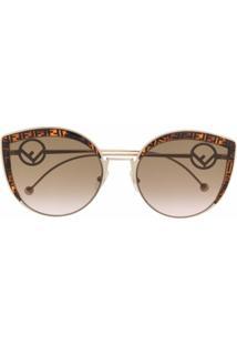 Fendi Eyewear Óculos De Sol Redondo Monogramado - Dourado