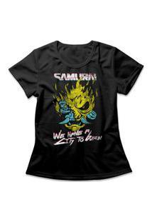 Camiseta Feminina Cyberpunk Samurai Preto
