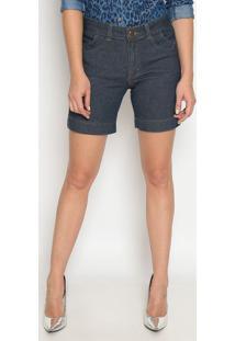 Bermuda Jeans Com Fendas- Azul Escuro- Sisalsisal