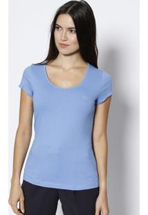 Blusa Com Bordado- Azul Clarojavali