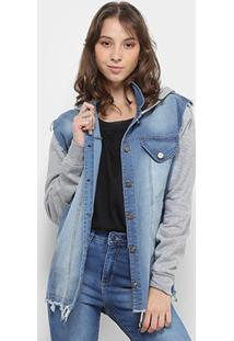 Jaqueta Jeans Fitwell Capuz Moletom Feminino - Feminino-Azul