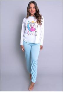 Pijama Mvb Modas Longo Inverno Feminino - Feminino-Azul
