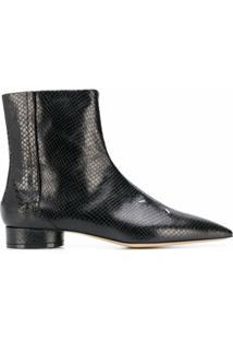 Maison Margiela Ankle Boot Com Detalhe De Pesponto - Preto