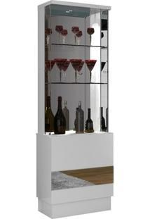Cristaleira 2 Portas E Espelho New Vina Dj Móveis Branco Laca