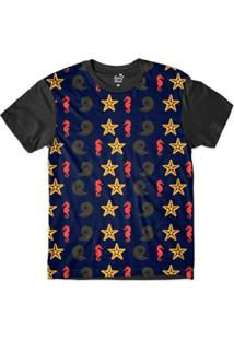 Camiseta Long Beach Náutica Estrela Marinha Sublimada Masculina - Masculino-Marinho+Preto