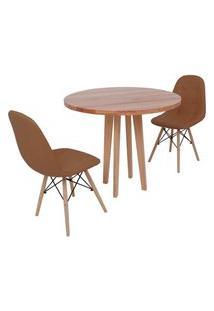 Conjunto Mesa De Jantar Em Madeira 90Cm Com Base Vértice + 2 Cadeiras Botonê - Marrom