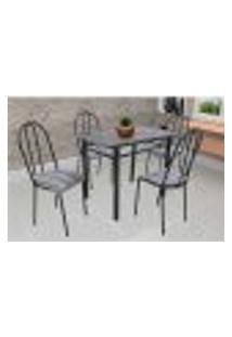 Conjunto De Mesa Com 4 Cadeiras Genebra Couro Sintético Preto Listrado