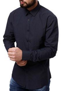 Camisa Manga Longa Masculina Azul Marinho/Branco